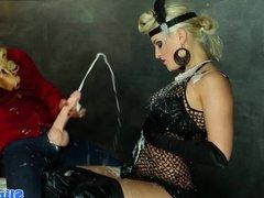 Bukkake lesbian strapon fucked at gloryhole