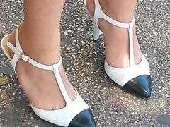 Candid High Heels At A Bus Stop