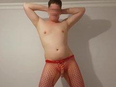 Jamiesroom Red body stocking Tease photoshoot