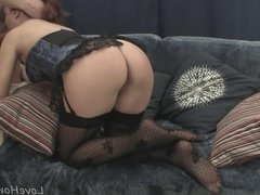 Hot redhead in stockings sucks off her lover