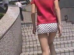 Micro mini skirt and white panties
