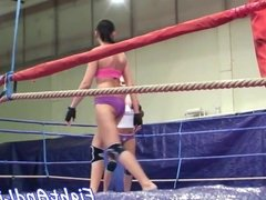 Dyke babes wrestling in boxing ring