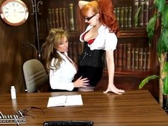 British Milfs Dildo Fuck and Pussy Lick in The Office
