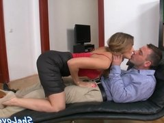 Seductive euro rides cock and gets dp fucked