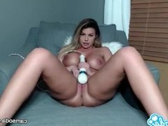 Brooklyn Chase big tits MILF fucking with massive toy.