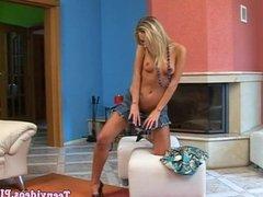 Amateur teen babe masturbating with dildo