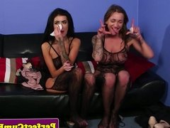 British ligeried skanks giving double bj POV