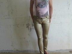 Fag in shiny tight pants
