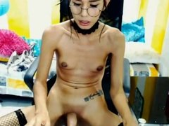 Skinny pretty TS play with her cock