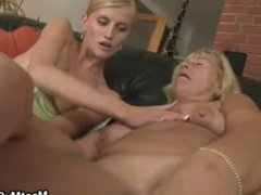 Hot threesome with his old parents