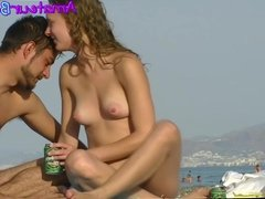 Amateur Nudist Couple Voyeur Beach Close-Up Video