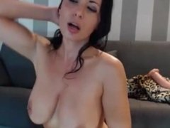 Horny mum cums on herself and lick it on webcam