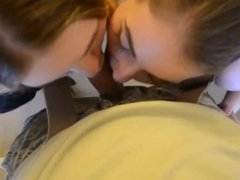 Bisexual girls share his load