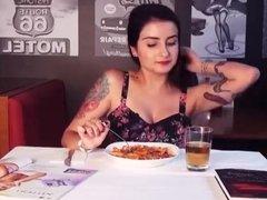 orgasm during eating in restaurant