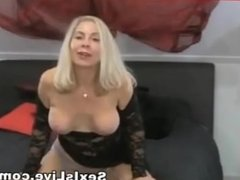Horny blonde milf big tits riding dildo