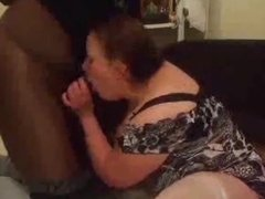 amateur Bbw wife sucking, fucking, and squirting on bbc