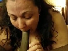 BBW deepthroats BBC with spit play