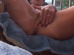 Masturbating on my deck Part 1 Pre-orgasm