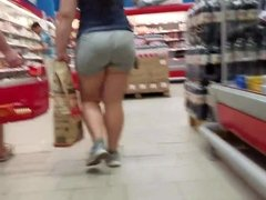 Fat ass in grey shorts
