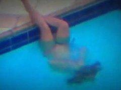 Teen girl caught masturbating in pool