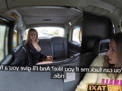 Female Fake Taxi Big tits barmaid gets lesbian tribbing