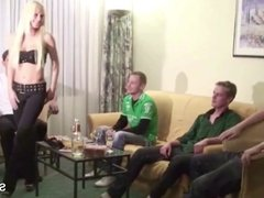 Petite German Teen in Real Amateur Gangbang after Party