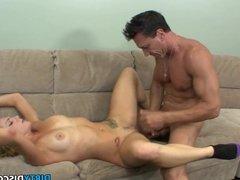 Cock sucking babe guzzles