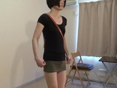 crossdresser wearing a mini skirt