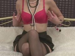 Tattooed blonde in stockings loves her little toy