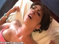 Horny fake boobs taking hard massage