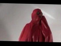 Latex burqa red