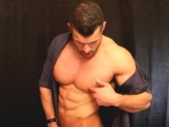 Muscle man pecs and a stiff cock