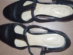 Cute girl's shoes cummed VII - she wears them!