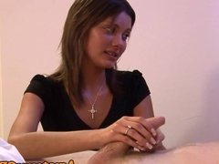Religious CFNM babe cocksucks sub guy