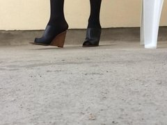 Black Nylons, Black Wedges !!!