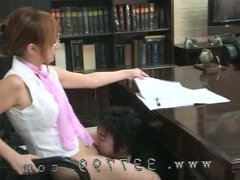 A man licks the pussy of a female boss and cleanses