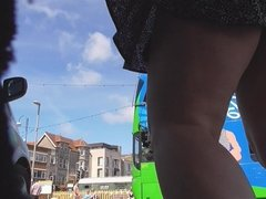 windy Swanage street,short skirt,crotchless panties & people