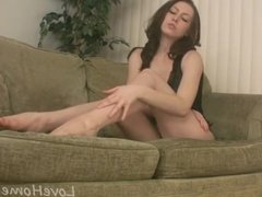 Lusty girlfriend pleasures herself with the sex toy