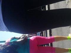 Mature woman in dark leggings