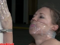 Bound bdsm sub canned and tied up