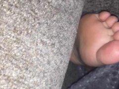 Sister soles while she sleeps