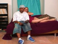 Curvy whore sits on black guy's face with her wet pussy