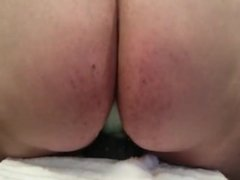 Bouncing on my dildo with view on my ass