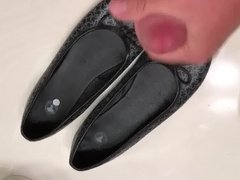 Cum on black ballet flats