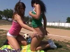 Ebony dildo both holes Sporty teens