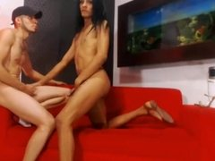 Ts playing with her two boys on cam