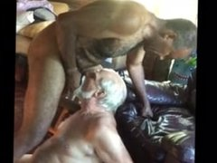 Silver daddy blowjob and eat cum