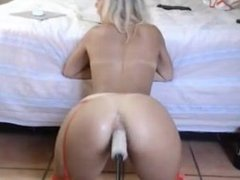 Moaning with fucker machine