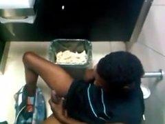 Caught Black Guy Jerking Off In Men's Room Stall