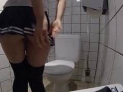 slave wanking on public toilet